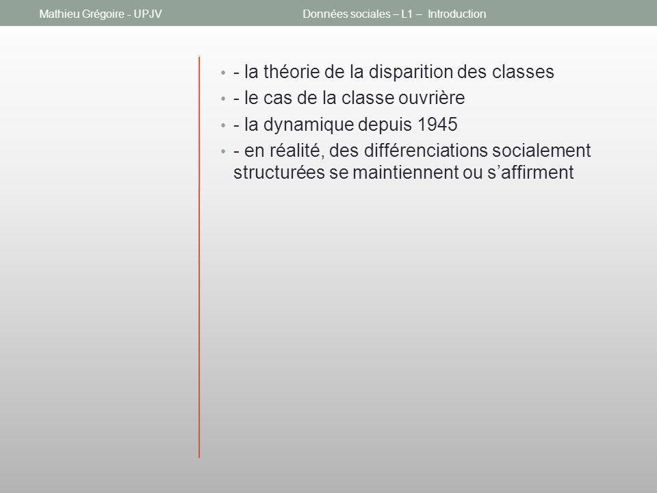 - la théorie de la disparition des classes - le cas de la classe ouvrière - la dynamique depuis 1945 - en réalité, des différenciations socialement st