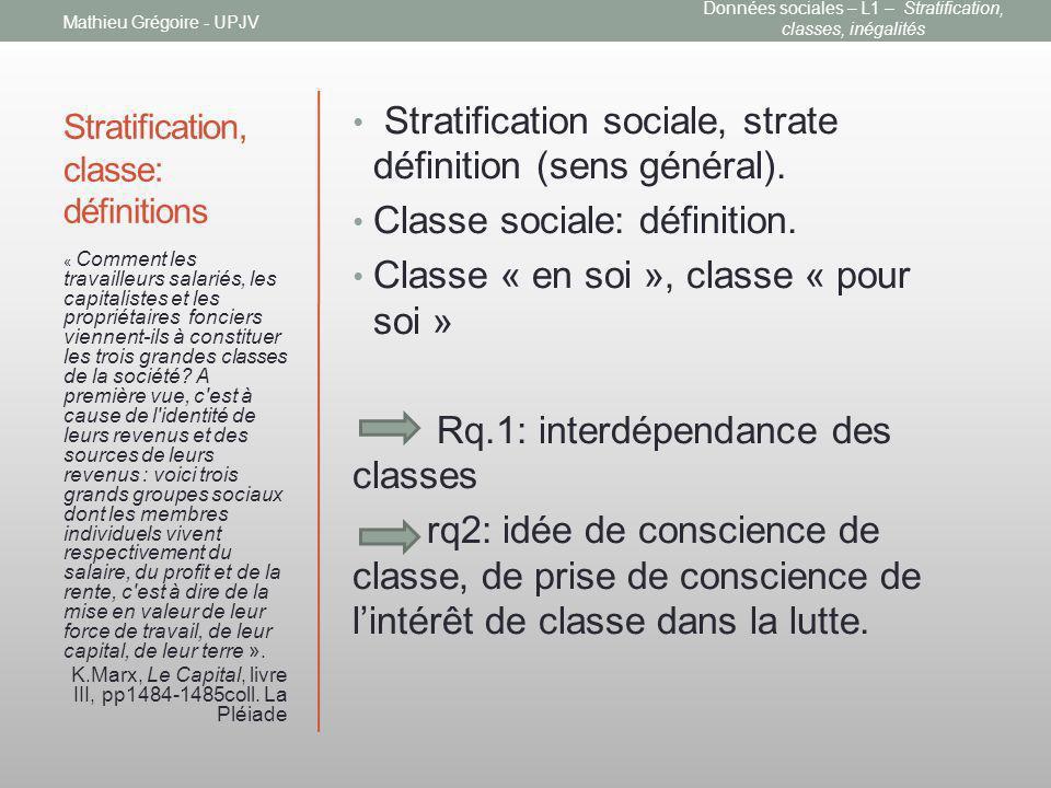 Stratification, classe: définitions Stratification sociale, strate définition (sens général). Classe sociale: définition. Classe « en soi », classe «