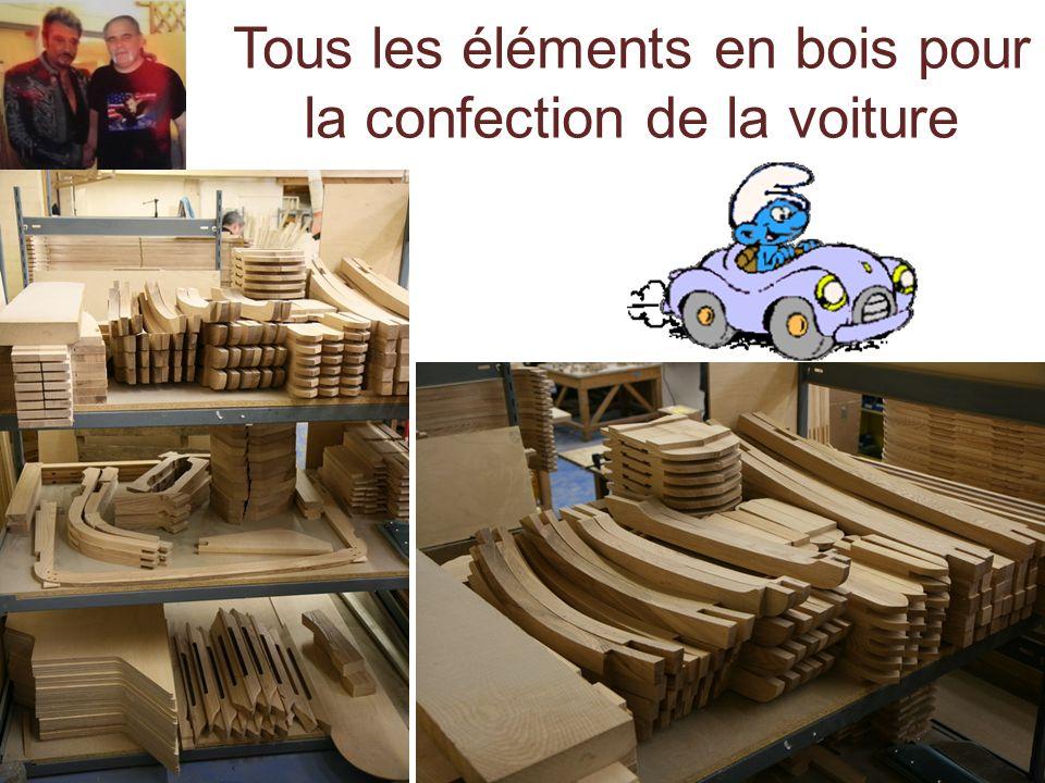 Tous les éléments en bois pour la confection de la voiture
