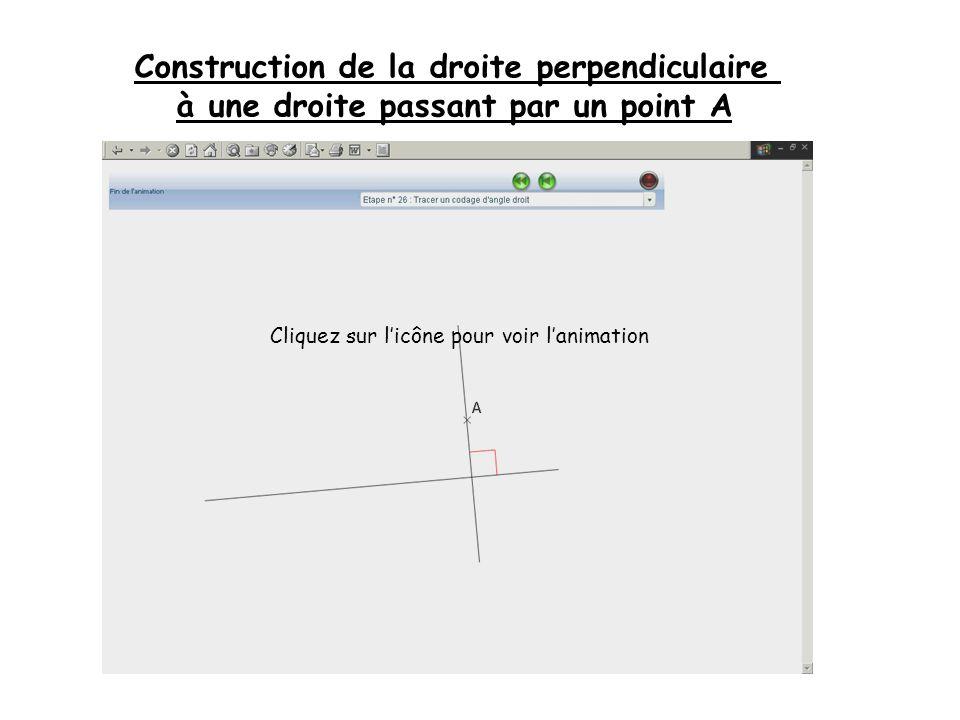 Construction de la droite perpendiculaire à une droite passant par un point A Cliquez sur licône pour voir lanimation