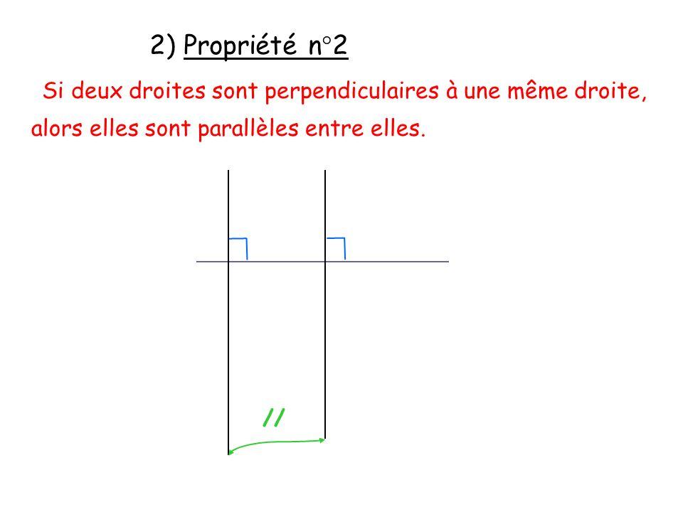 2) Propriété n°2 Si deux droites sont perpendiculaires à une même droite, alors elles sont parallèles entre elles. //
