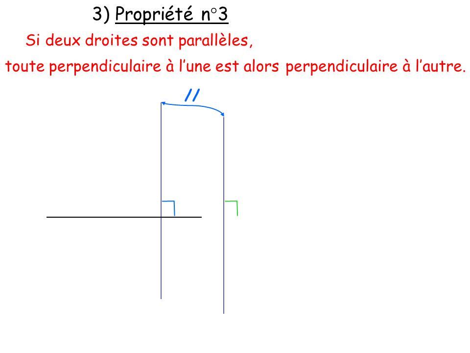 3) Propriété n°3 Si deux droites sont parallèles, toute perpendiculaire à lune est alors // perpendiculaire à lautre.