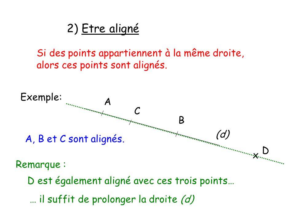 2) Etre aligné Si des points appartiennent à la même droite, alors ces points sont alignés. Exemple: A B C (d) A, B et C sont alignés. x D D est égale