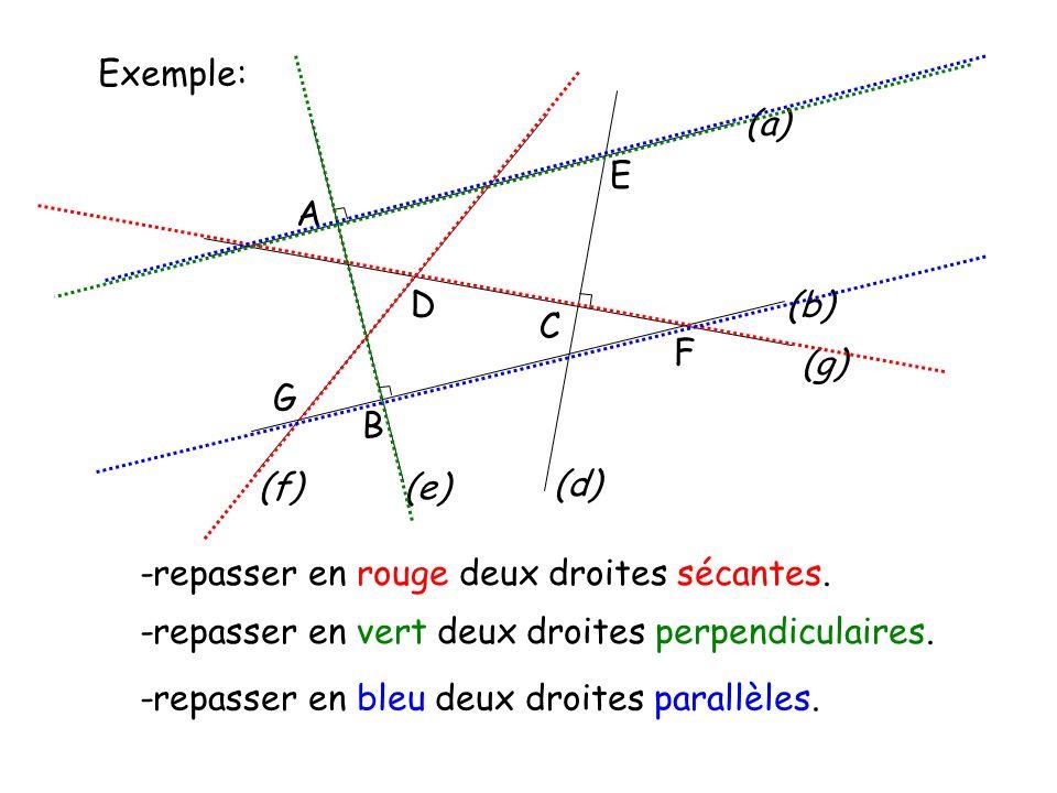 Exemple: A D E G C F (b) (a) B (e) (d) (g) (f) -repasser en rouge deux droites sécantes. -repasser en vert deux droites perpendiculaires. -repasser en