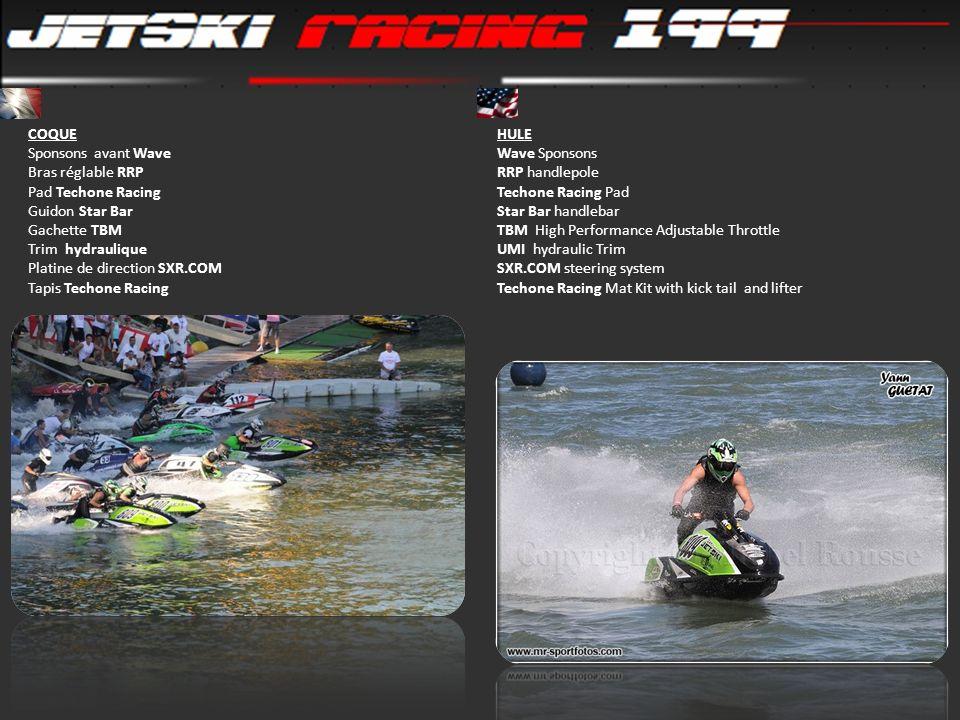 COQUE Sponsons avant Wave Bras réglable RRP Pad Techone Racing Guidon Star Bar Gachette TBM Trim hydraulique Platine de direction SXR.COM Tapis Techon