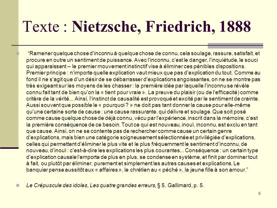 5 ÉPICURE, 342-270, p.157 La connaissance libère de la crainte Celui qui ne connaît pas à fond la nature de l'univers, mais se contente de conjectures