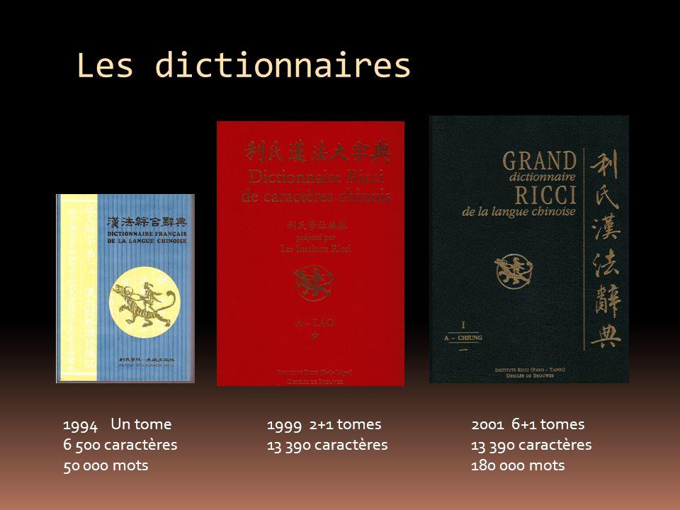 Les dictionnaires 1994 Un tome1999 2+1 tomes2001 6+1 tomes 6 500 caractères13 390 caractères13 390 caractères 50 000 mots180 000 mots