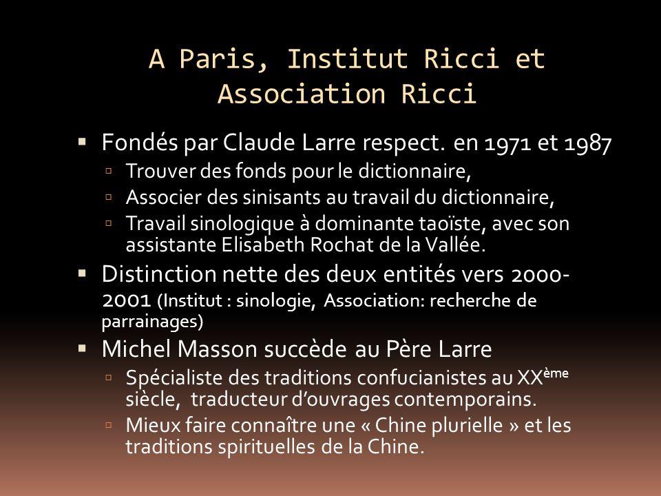 A Paris, Institut Ricci et Association Ricci Fondés par Claude Larre respect.