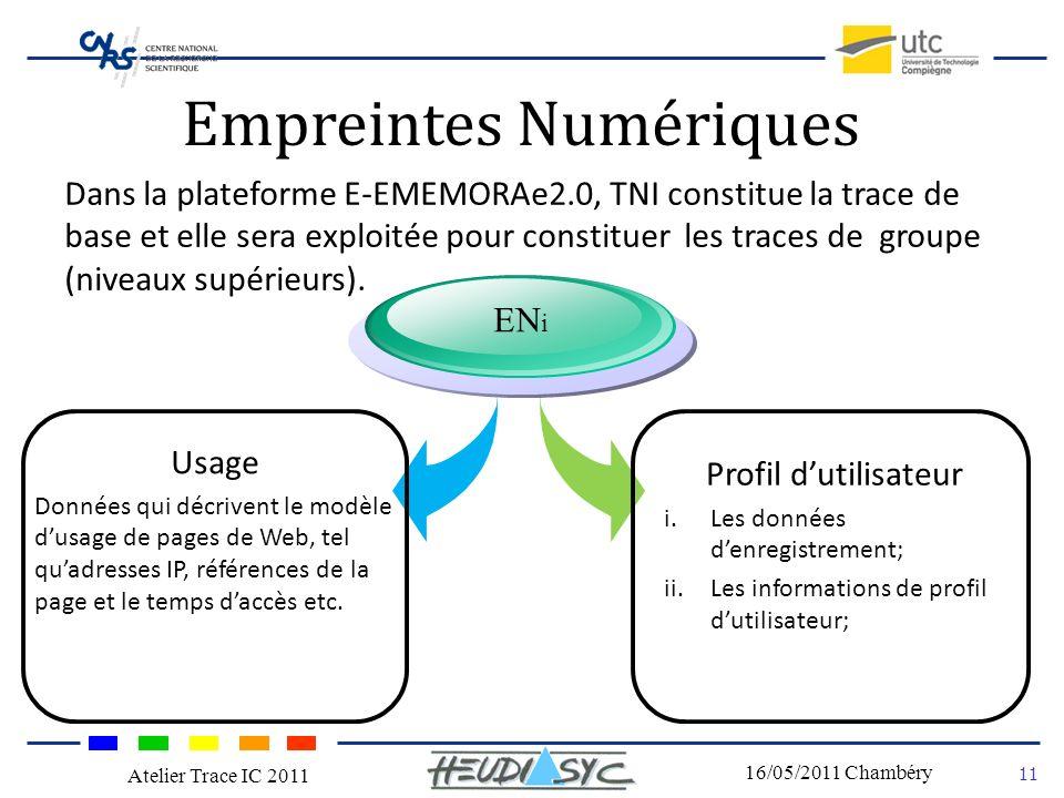 Nom du congrès Lieu - date 11 16/05/2011 Chambéry Atelier Trace IC 2011 Empreintes Numériques Dans la plateforme E-EMEMORAe2.0, TNI constitue la trace de base et elle sera exploitée pour constituer les traces de groupe (niveaux supérieurs).