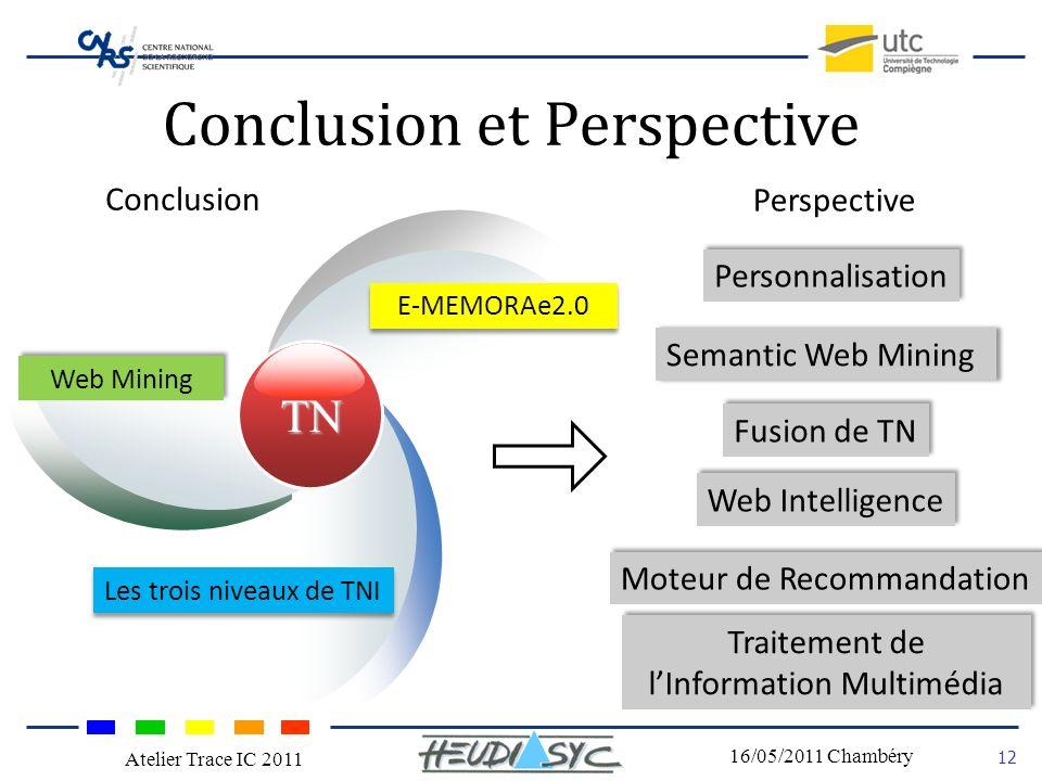 Nom du congrès Lieu - date 12 16/05/2011 Chambéry Atelier Trace IC 2011 Conclusion et Perspective Conclusion TN Web Mining Les trois niveaux de TNI E-