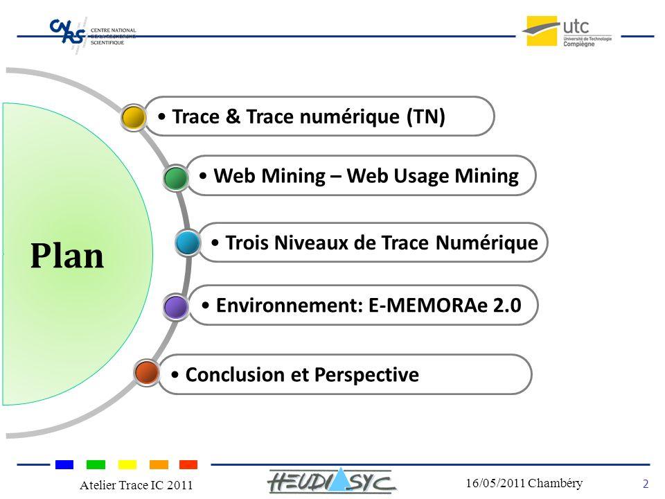 Nom du congrès Lieu - date Plan 2 16/05/2011 Chambéry Atelier Trace IC 2011 Trace & Trace numérique (TN) Web Mining – Web Usage Mining Trois Niveaux de Trace Numérique Environnement: E-MEMORAe 2.0 Conclusion et Perspective