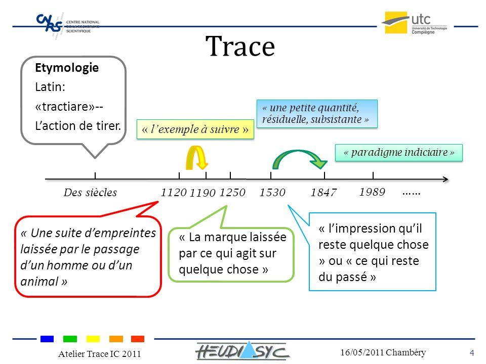Nom du congrès Lieu - date 4 16/05/2011 Chambéry Atelier Trace IC 2011 Trace Etymologie Latin: «tractiare»-- Laction de tirer. « Une suite dempreintes