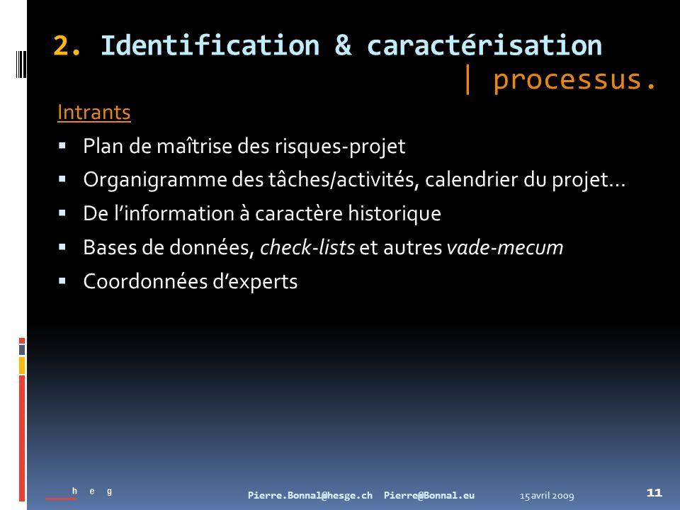 15 avril 2009Pierre.Bonnal@hesge.ch Pierre@Bonnal.eu 11 2. Identification & caractérisation Intrants Plan de maîtrise des risques-projet Organigramme