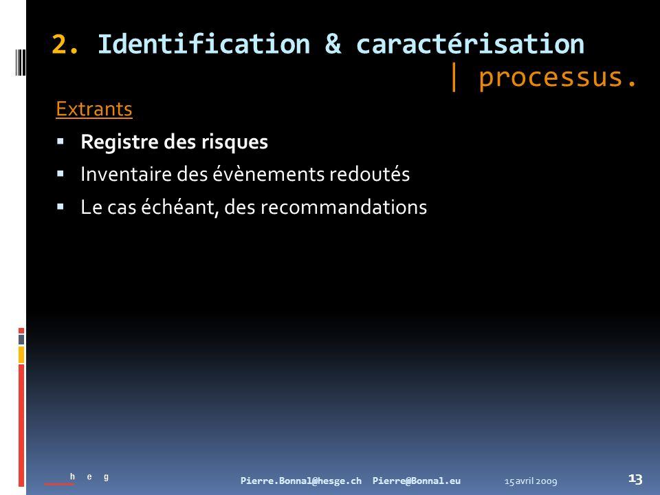15 avril 2009Pierre.Bonnal@hesge.ch Pierre@Bonnal.eu 13 2. Identification & caractérisation Extrants Registre des risques Inventaire des évènements re