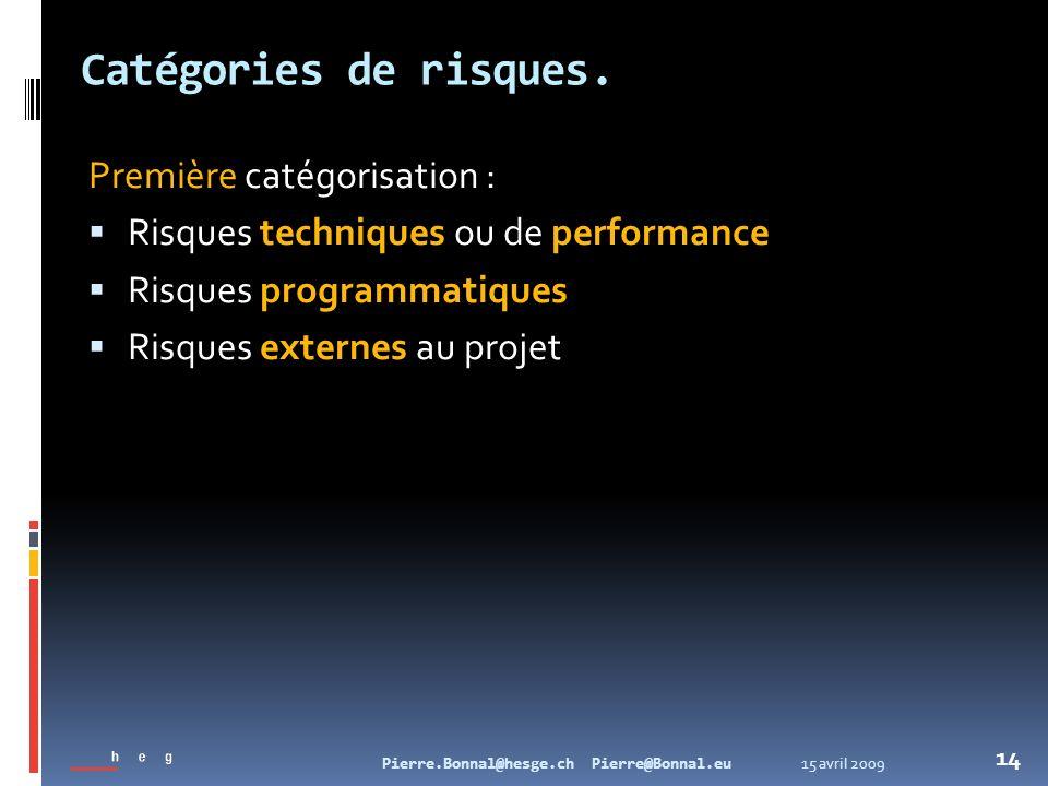 15 avril 2009Pierre.Bonnal@hesge.ch Pierre@Bonnal.eu 14 Catégories de risques. Première catégorisation : Risques techniques ou de performance Risques