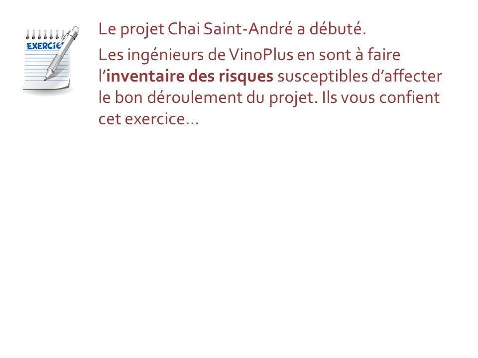 Le projet Chai Saint-André a débuté. Les ingénieurs de VinoPlus en sont à faire linventaire des risques susceptibles daffecter le bon déroulement du p