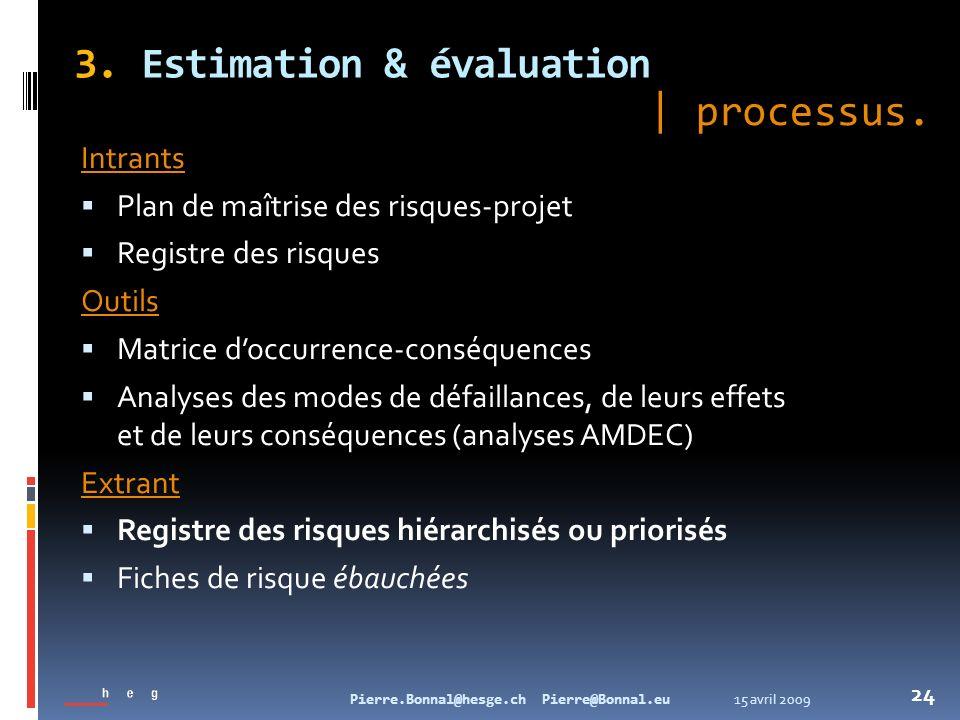15 avril 2009Pierre.Bonnal@hesge.ch Pierre@Bonnal.eu 24 3. Estimation & évaluation Intrants Plan de maîtrise des risques-projet Registre des risques O
