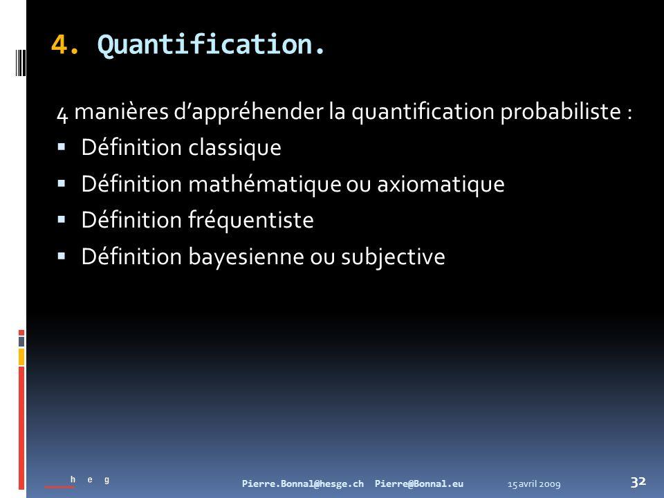15 avril 2009Pierre.Bonnal@hesge.ch Pierre@Bonnal.eu 32 4. Quantification. 4 manières dappréhender la quantification probabiliste : Définition classiq