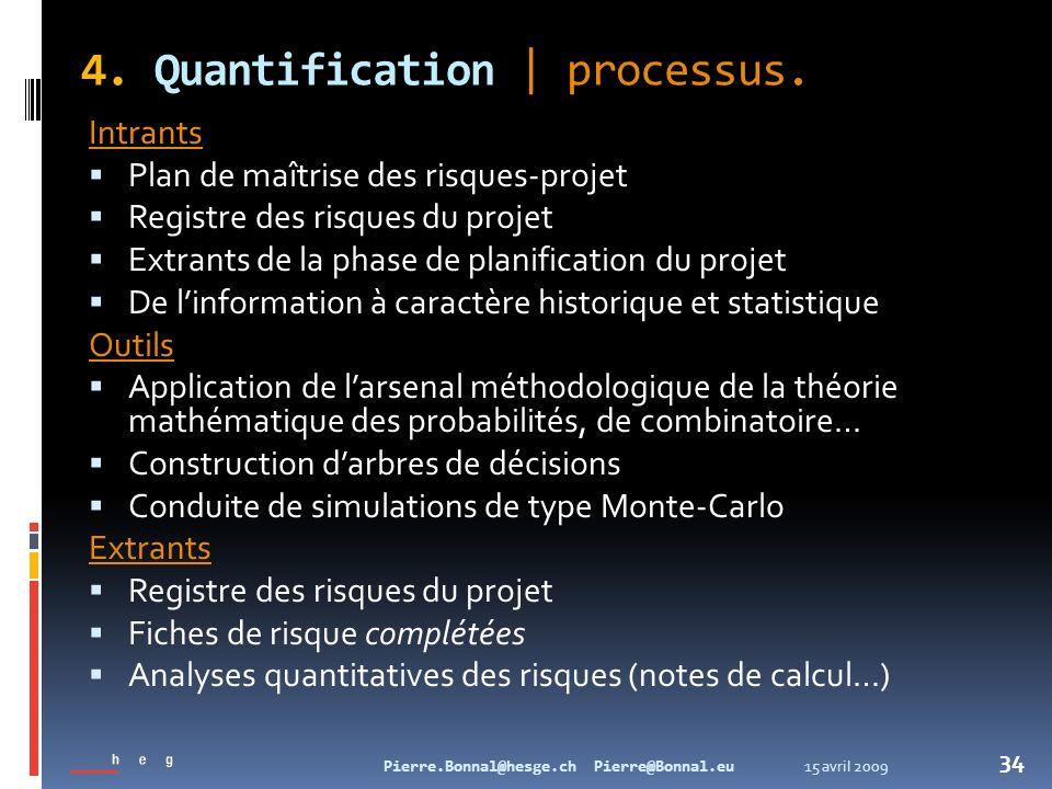 15 avril 2009Pierre.Bonnal@hesge.ch Pierre@Bonnal.eu 34 4. Quantification   processus. Intrants Plan de maîtrise des risques-projet Registre des risqu