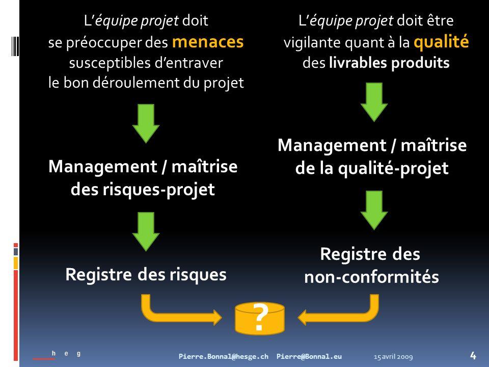 15 avril 2009Pierre.Bonnal@hesge.ch Pierre@Bonnal.eu 4 Léquipe projet doit se préoccuper des menaces susceptibles dentraver le bon déroulement du proj