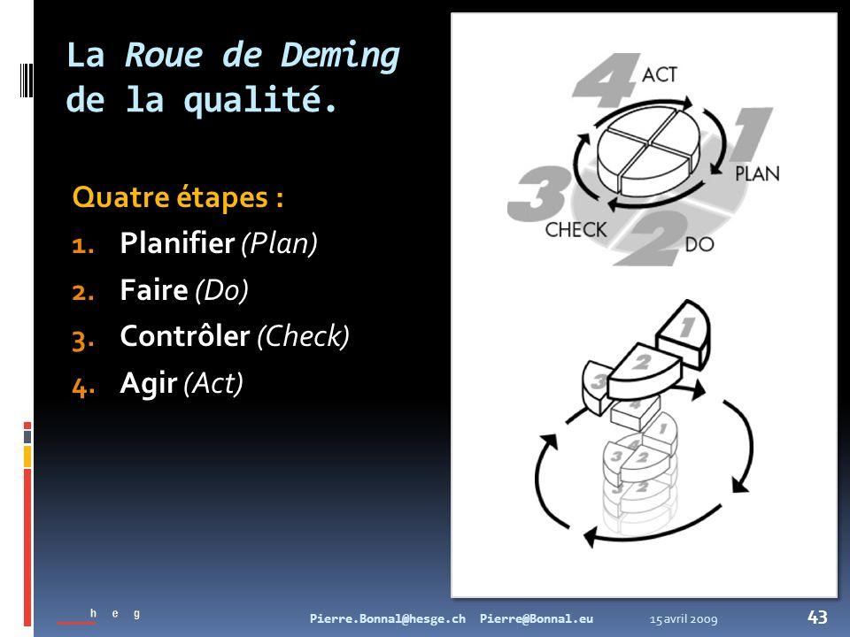 15 avril 2009Pierre.Bonnal@hesge.ch Pierre@Bonnal.eu 43 La Roue de Deming de la qualité. Quatre étapes : 1. Planifier (Plan) 2. Faire (Do) 3. Contrôle