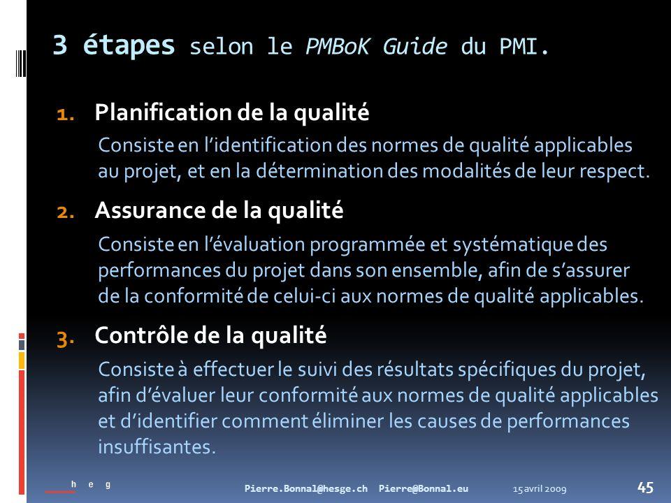 15 avril 2009Pierre.Bonnal@hesge.ch Pierre@Bonnal.eu 45 3 étapes selon le PMBoK Guide du PMI. 1. Planification de la qualité Consiste en lidentificati