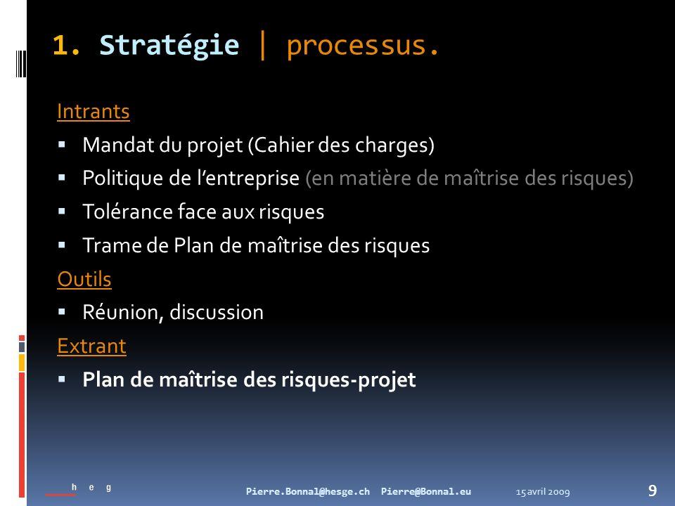 15 avril 2009Pierre.Bonnal@hesge.ch Pierre@Bonnal.eu 9 1. Stratégie   processus. Intrants Mandat du projet (Cahier des charges) Politique de lentrepri
