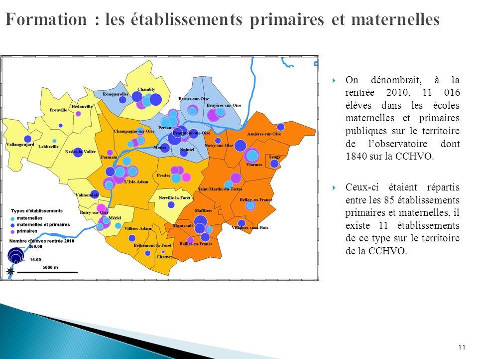 11 On dénombrait, à la rentrée 2010, 11 016 élèves dans les écoles maternelles et primaires publiques sur le territoire de lobservatoire dont 1840 sur la CCHVO.