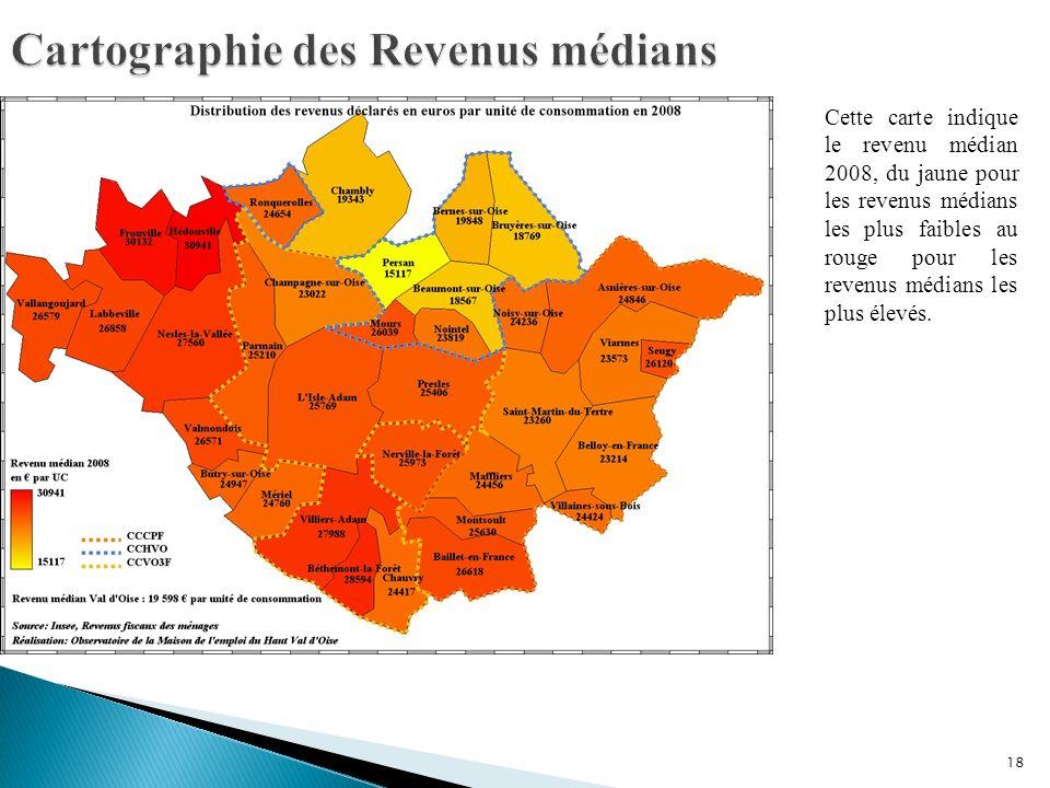 18 Cette carte indique le revenu médian 2008, du jaune pour les revenus médians les plus faibles au rouge pour les revenus médians les plus élevés.