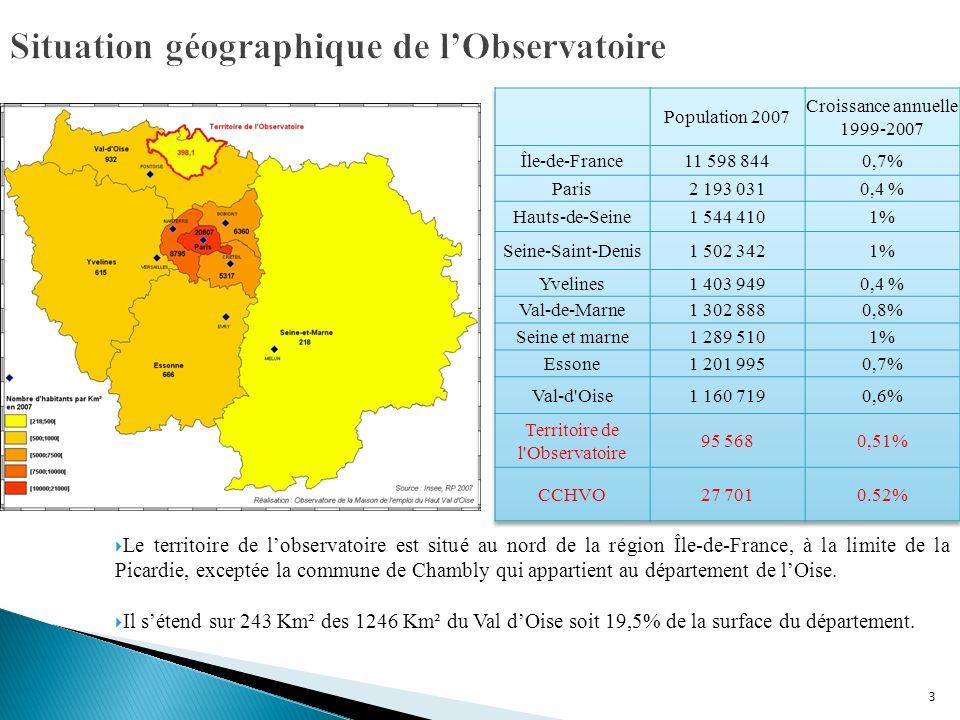 3 Le territoire de lobservatoire est situé au nord de la région Île-de-France, à la limite de la Picardie, exceptée la commune de Chambly qui appartient au département de lOise.