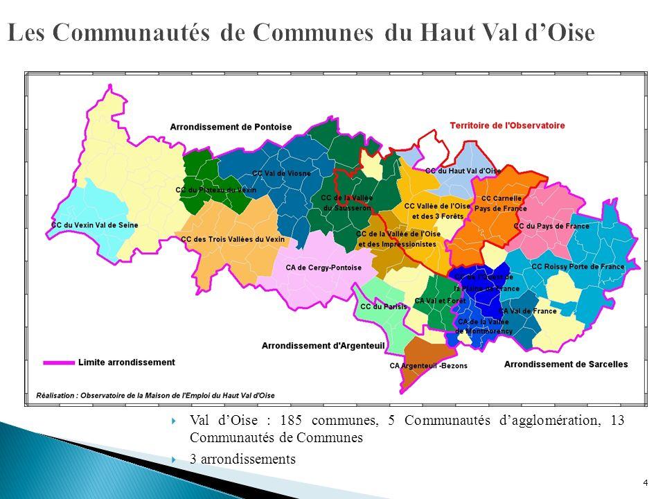 4 Val dOise : 185 communes, 5 Communautés dagglomération, 13 Communautés de Communes 3 arrondissements