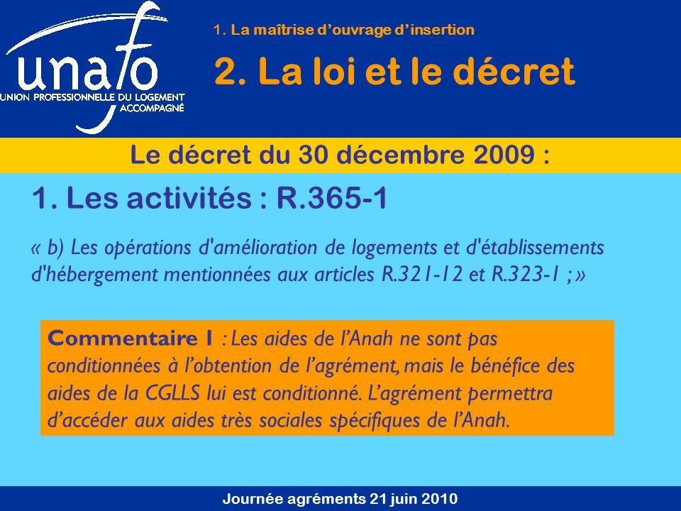 Journée agréments 21 juin 2010 1. La maîtrise douvrage dinsertion 2. La loi et le décret Le décret du 30 décembre 2009 : « b) Les opérations d'amélior
