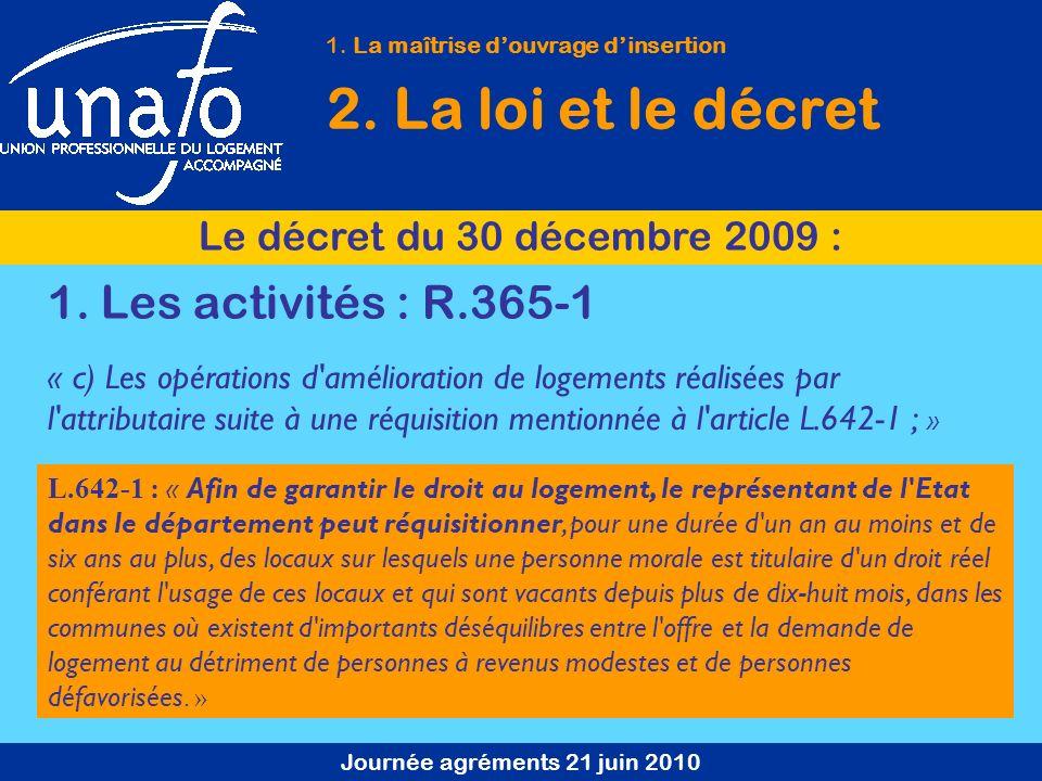 Journée agréments 21 juin 2010 1. La maîtrise douvrage dinsertion 2. La loi et le décret Le décret du 30 décembre 2009 : « c) Les opérations d'amélior