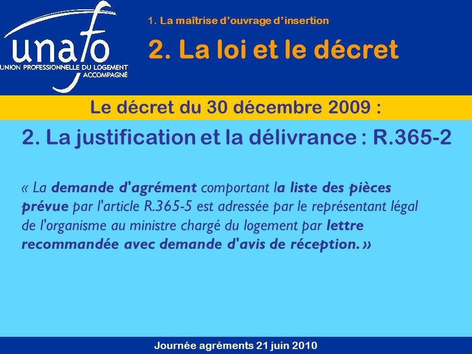 Journée agréments 21 juin 2010 1. La maîtrise douvrage dinsertion 2. La loi et le décret Le décret du 30 décembre 2009 : « La demande d'agrément compo