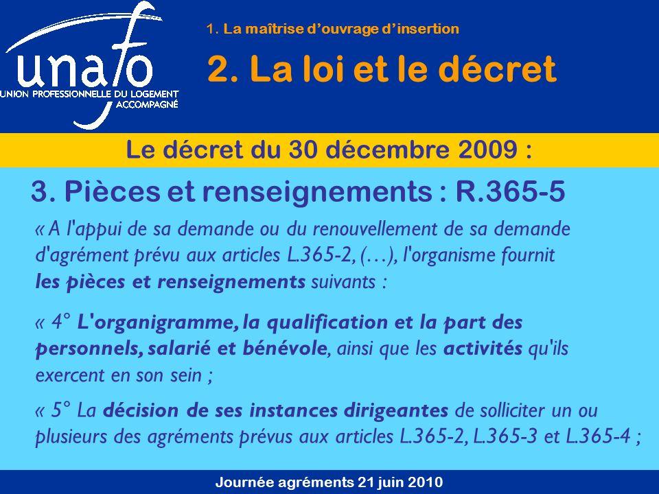 Journée agréments 21 juin 2010 1. La maîtrise douvrage dinsertion 2. La loi et le décret Le décret du 30 décembre 2009 : 3. Pièces et renseignements :