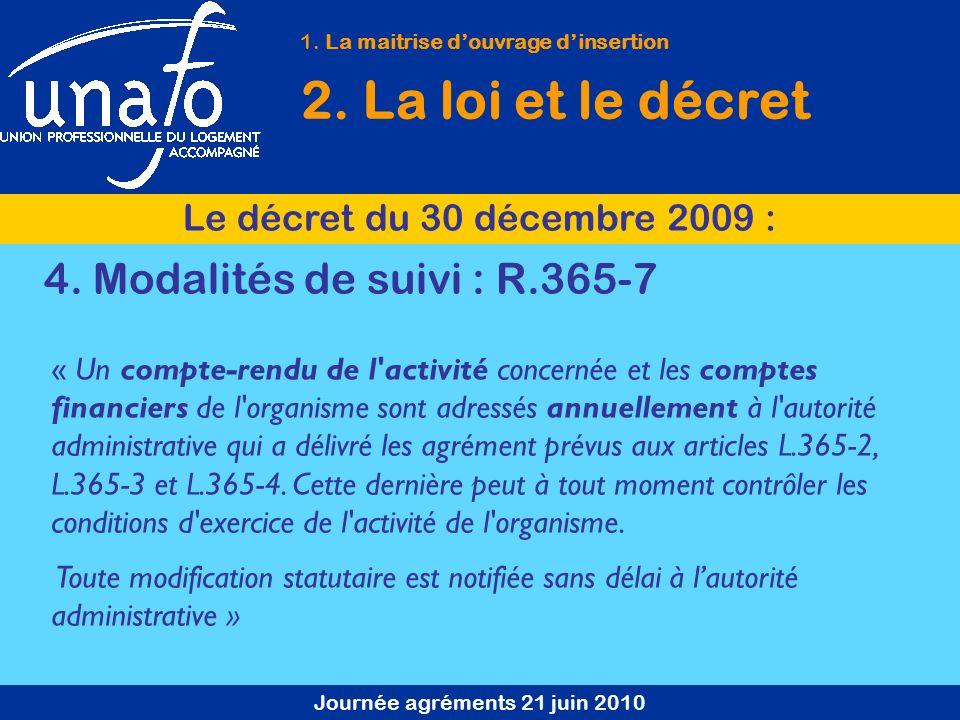 Journée agréments 21 juin 2010 1. La maitrise douvrage dinsertion 2. La loi et le décret Le décret du 30 décembre 2009 : 4. Modalités de suivi : R.365