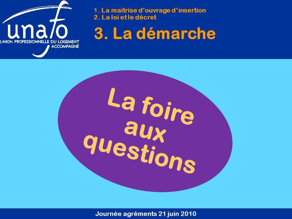 Journée agréments 21 juin 2010 La foire aux questions 1.