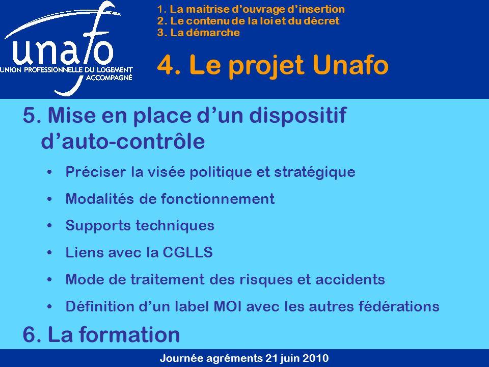 Journée agréments 21 juin 2010 1. La maitrise douvrage dinsertion 2. Le contenu de la loi et du décret 3. La démarche 4. Le projet Unafo 5. Mise en pl