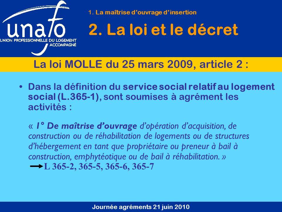 Journée agréments 21 juin 2010 Dans la définition du service social relatif au logement social (L.365-1), sont soumises à agrément les activités : « 1