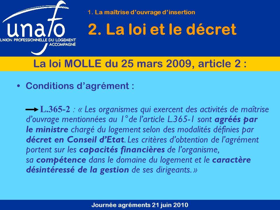 Journée agréments 21 juin 2010 Conditions dagrément : L.365-2 : « Les organismes qui exercent des activités de maîtrise douvrage mentionnées au 1°de l