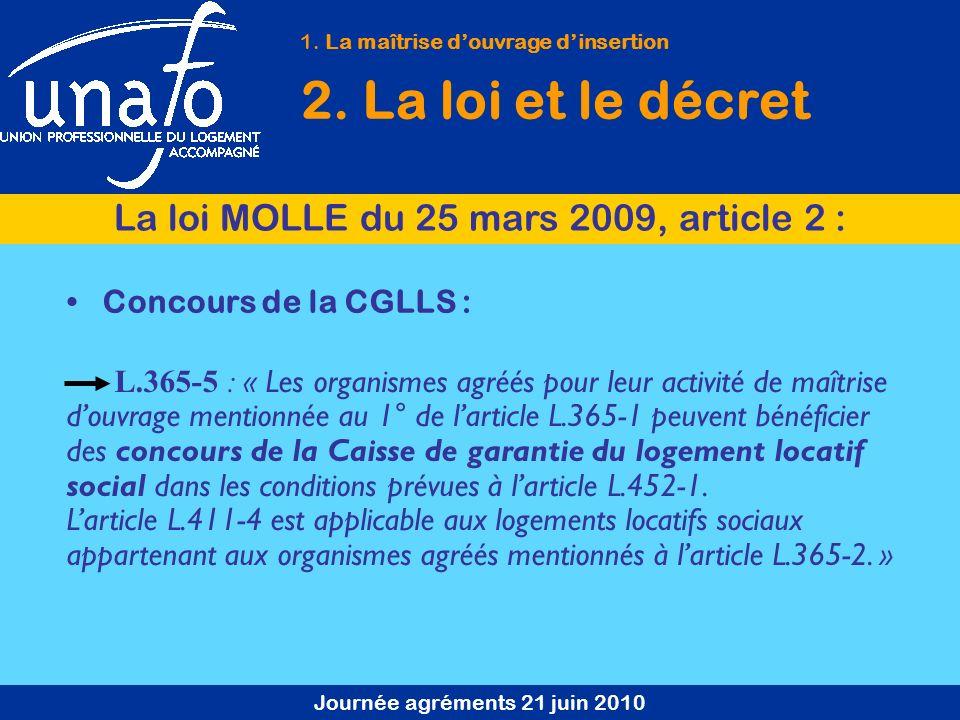 Journée agréments 21 juin 2010 Concours de la CGLLS : L.365-5 : « Les organismes agréés pour leur activité de maîtrise douvrage mentionnée au 1° de la