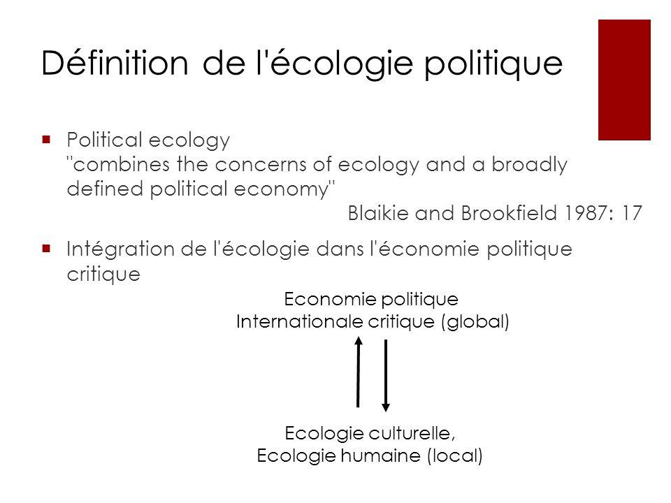 Définition de l'écologie politique Political ecology
