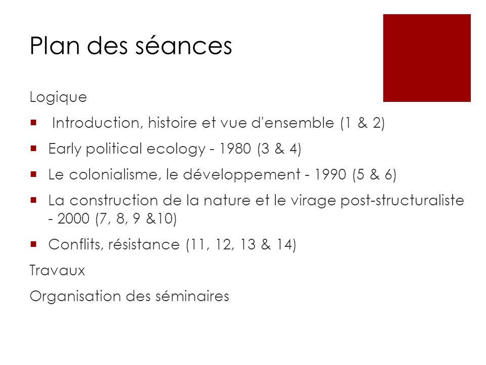 Plan des séances Logique Introduction, histoire et vue d'ensemble (1 & 2) Early political ecology - 1980 (3 & 4) Le colonialisme, le développement - 1