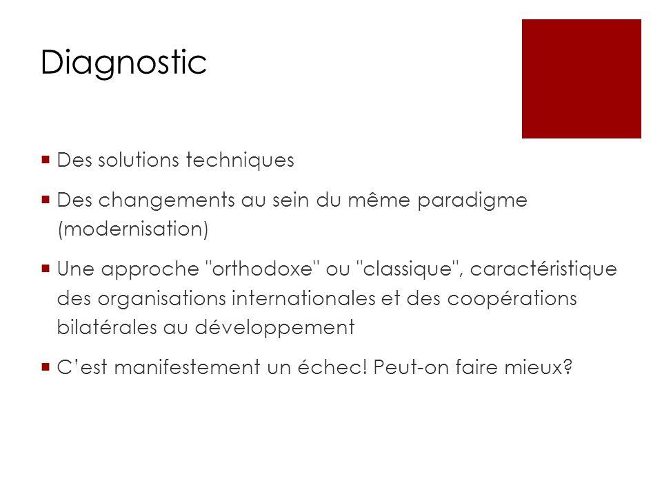 Diagnostic Des solutions techniques Des changements au sein du même paradigme (modernisation) Une approche orthodoxe ou classique , caractéristique des organisations internationales et des coopérations bilatérales au développement Cest manifestement un échec.