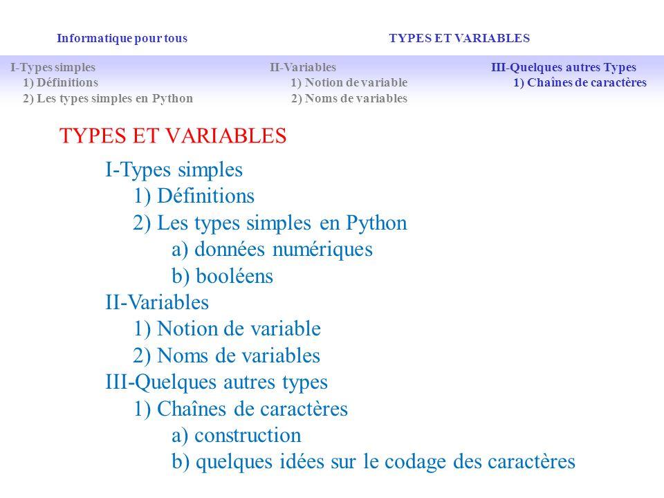 TYPES ET VARIABLES Informatique pour tous TYPES ET VARIABLES I-Types simples 1) Définitions 2) Les types simples en Python a) données numériques b) bo