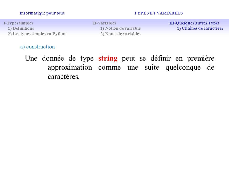 Informatique pour tous TYPES ET VARIABLES Une donnée de type string peut se définir en première approximation comme une suite quelconque de caractères