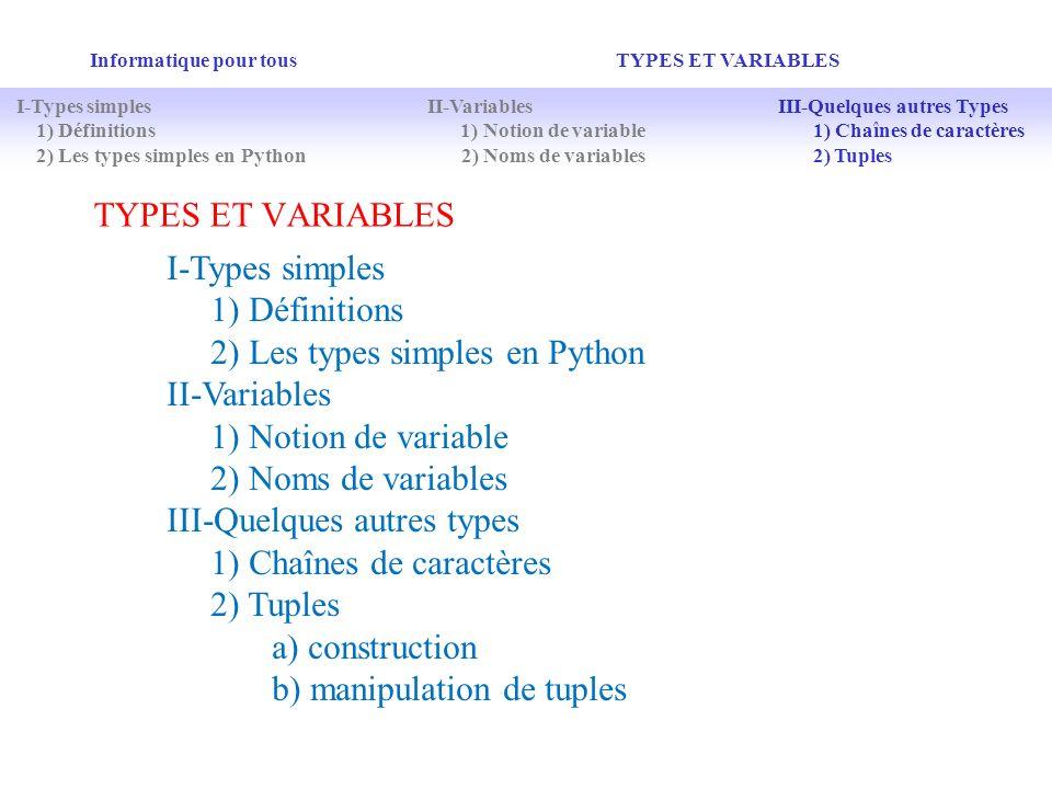 TYPES ET VARIABLES Informatique pour tous TYPES ET VARIABLES I-Types simples 1) Définitions 2) Les types simples en Python II-Variables 1) Notion de v