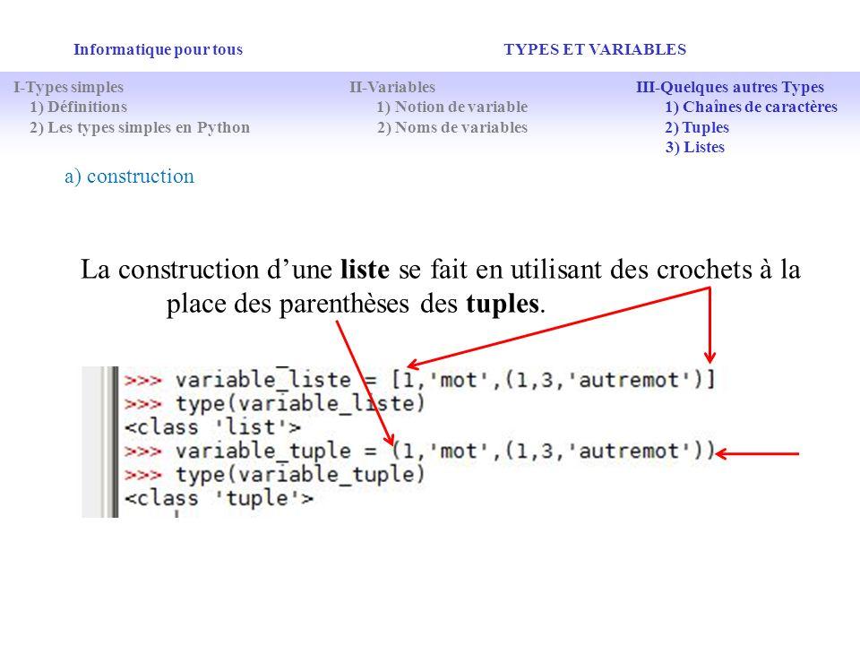 Informatique pour tous TYPES ET VARIABLES a) construction La construction dune liste se fait en utilisant des crochets à la place des parenthèses des