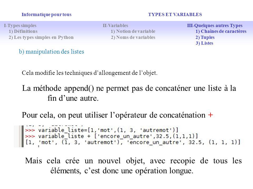 Informatique pour tous TYPES ET VARIABLES b) manipulation des listes Cela modifie les techniques dallongement de lobjet. La méthode append() ne permet