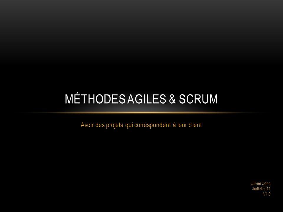 Avoir des projets qui correspondent à leur client MÉTHODES AGILES & SCRUM Olivier Conq Juillet 2011 V1.0